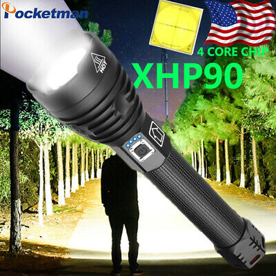 Powerful 95000LM XHP90 LED Flashlight Rechargeable 3 Modes Zoom Tactical Torch