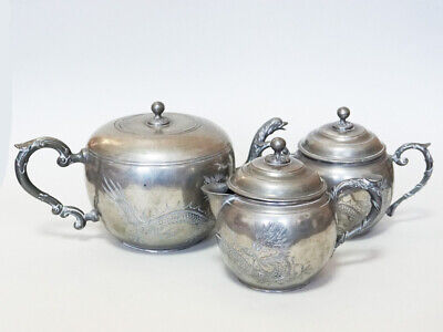 Mid 20Th Century Chinese Pewter Teapot Marks China Qing Dynasty