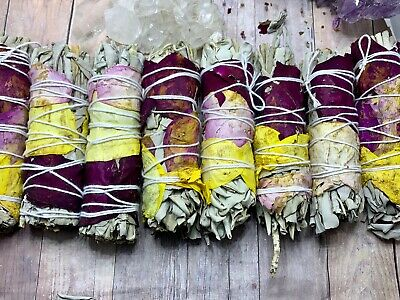 "White Sage Smudge Stick, Floral Sage Bundle Sage Wand, 4"" to 5"" House Cleansing"