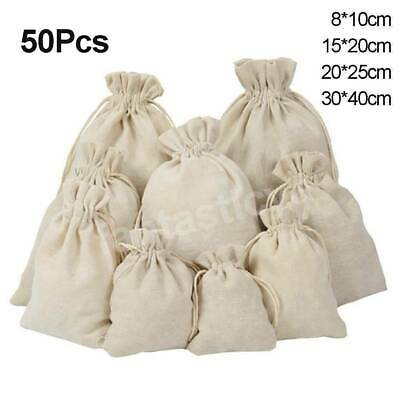 🔥 10-50Pcs Calico Drawstring Bags Storage Drawstring Calico Bags Cotton Bags AU