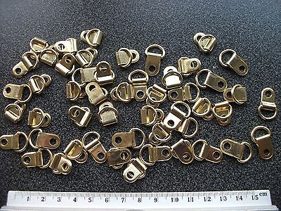 50 D Ring Picture Frame Brass Plated Steel Brackets Single Hole Fixings