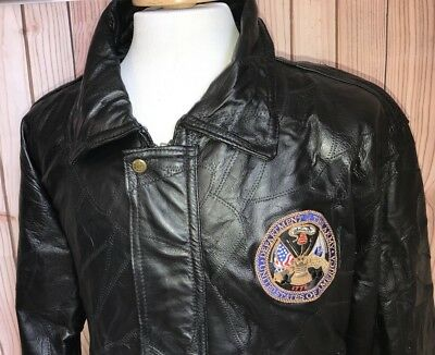 Department Of The Army USA Sz XL Black Leather Jacket Armed Forces U.S Military
