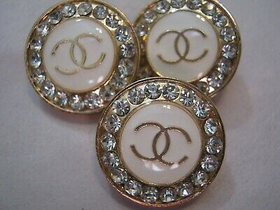 Chanel 3 cc buttons  OFF WHITE GOLD 20mm lot of 3 good condition