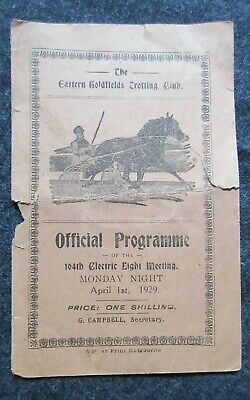 1929 The Eastern Goldfields Trotting Club Official Programme of The Electric Lig
