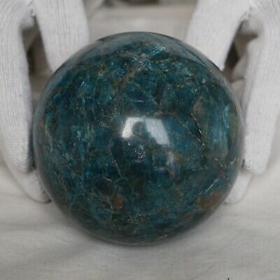 "4.58LB 4.2"" Natural Blue Apatite Crystal Sphere Ball Polished Healing China"