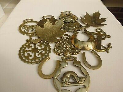 Job Lot Vintage Horse Brasses Shoes Fish Anchor Peacock Clock
