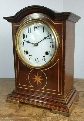 Clock Waterbury Clock Co Usa Mantel Chimes Wooden Case Serviced Working