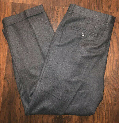 Jack Victor Prossimo Dress Pants Dark Gray Wool Pleated Cuffed Men's Size 36 R