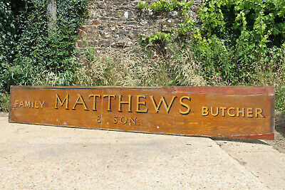 Mathews & Son Butchers Trade Sign Hand Painted Antique Vintage Circa 1880