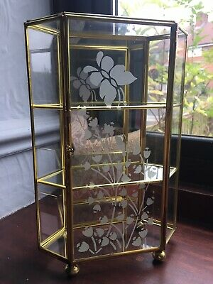 Vintage Small Glass And Brass Display Cabinet
