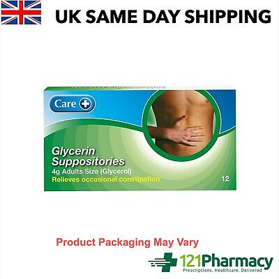Constipation Relief Glycerin Glycerol 4g Suppositories  12 Pack Effective Relief
