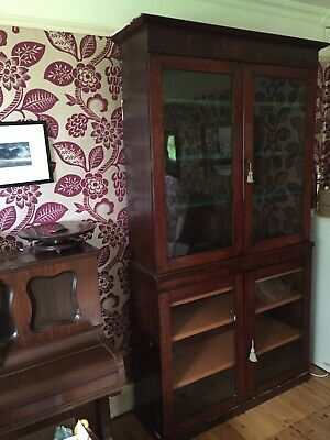 Tall Antique Victorian Mahogany Glazed Library Cupboard Bookcase