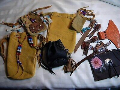 Leather Medicine Bag Lot , Leather Findings