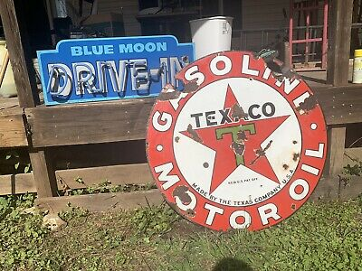 Vintage 1930s TEXACO GASOLINE Motor Oil Gas Station 2 Sided Porcelain Sign 42""