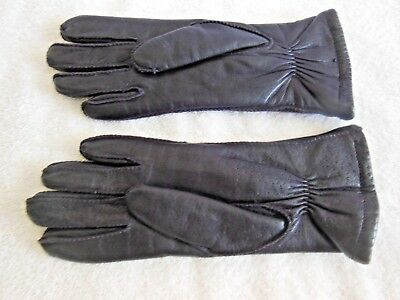 Women's Driving Gloves-Size S-Black-Leather-Thinsulate Lining-Unbranded-Wrist