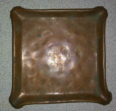 """Antique Vintage Heavy Copper Square Tray 6"""" X 6"""" Firelighter Hand Hammered"""