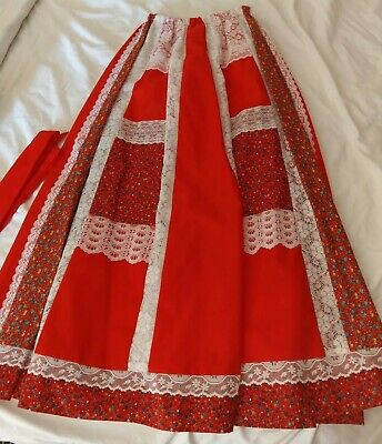 """Vintage Carefree Fashions Long Red Lace Floral Hostess Skirt 24-34"""" waist EUC"""