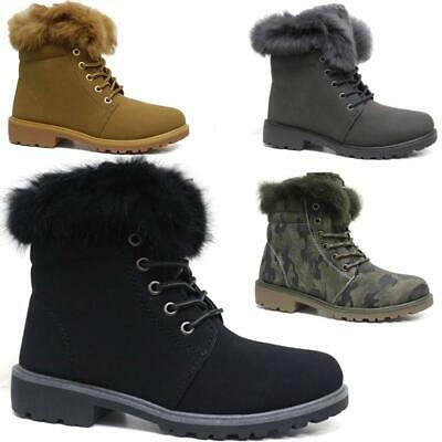 Ladies Hiking Boots Womens Ankle Desert Trail Combat Winter Walking Shoes Size