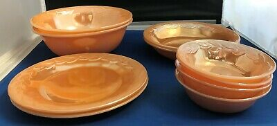 10pc Vintage Fire-king Peach Luster Dish Set