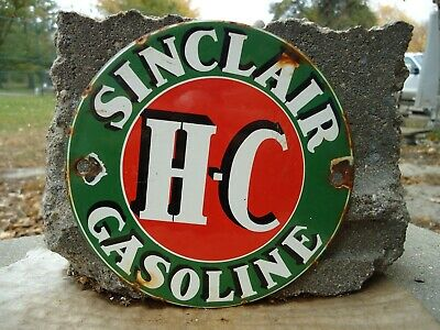 Vintage Sinclair H-C Gasoline Porcelain  Gas Station Door Sign