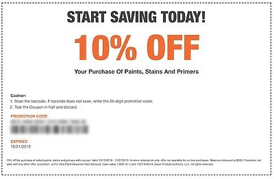 One(1x) Home Depot Coupon 10% off Paints,Stains &Primers In Store Only-exp 10/21