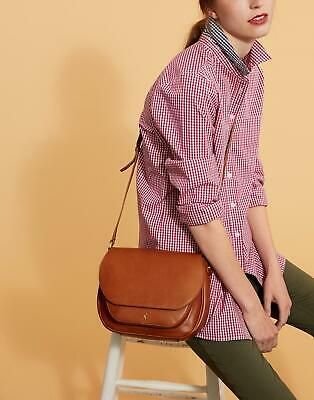 Joules Womens Darby Leather Saddle Bag in CHESTNUT in One Size