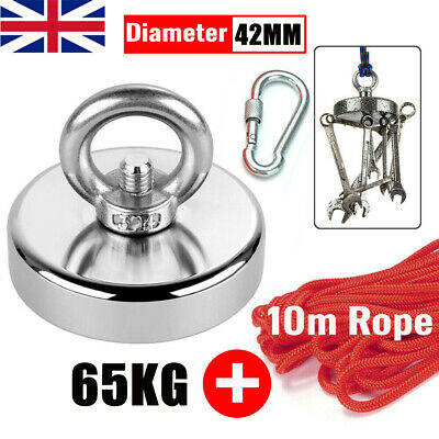 65kg Pull Salvage Strong Recovery Magnet Fishing Treasure Neodymium with Rope