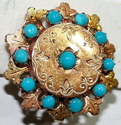 ANTIQUE VICTORIAN FRENCH BI COLOR 18k GOLD TURQUOISE SUPERB LEAFS BROOCH c1880