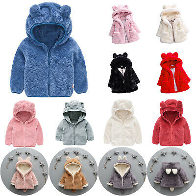 Kids Girls Boys Fleece Teddy Bear Winter Hooded Coat Jacket Warm Thick Outerwear