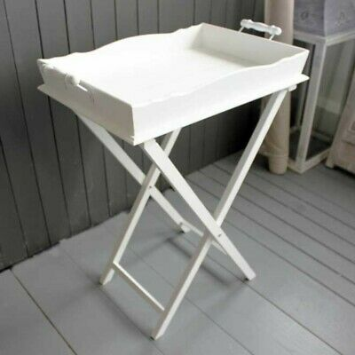 French White Wooden Butler Tray Occasional Foldable Table