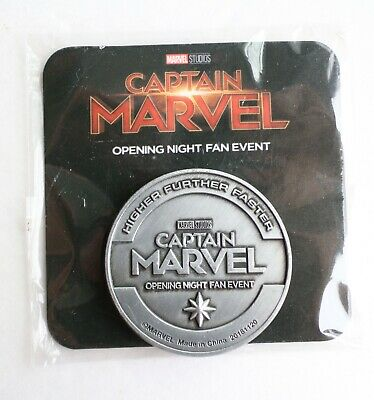 Captain Marvel Movie Promo Coin Opening Night Fan Event Studios AMC Collector