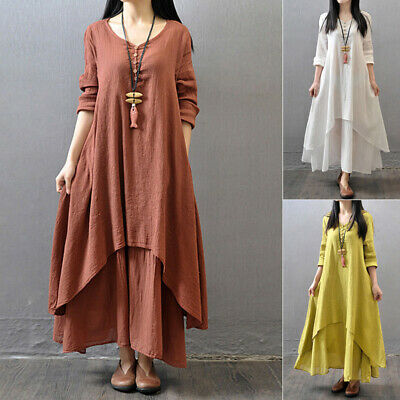 White women Dress Ginger Brick Red loose summer fall Boho 2019 high quality
