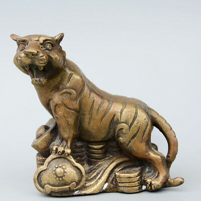 Daming Years Collectable China Old Copper Hand-Carved Vivid Tiger Noble Statue
