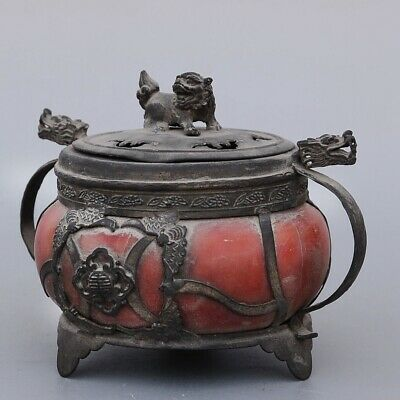 Collectable China Old Copper Hand-Carved Lion Dragon Auspicious Incense Burner