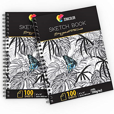 200 Sheets Professional Sketch Book Set 9?x12? With Spiral Bound 2x Sketch Pad