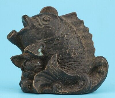 Retro China Bronze Statue Old Mascot Fish Home Decoration Craft Collection Gift
