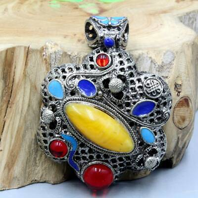 China Collectable Handwork Miao Silver Mosaic Agate Girl Beautiful Noble Pendant