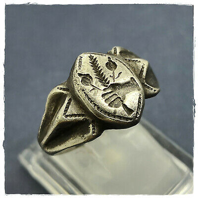 ** HAND with FOWERS and BRANCH ** ancient WEDDING SILVER Roman ring! 8,26g