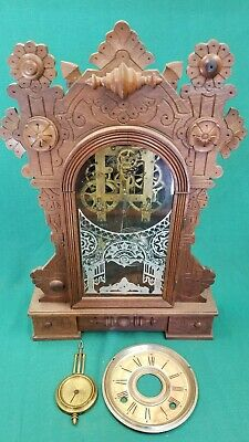 Antique William Gilbert Gingerbread Clock FOR PARTS OR PROJECT ONLY! NON-WORKING