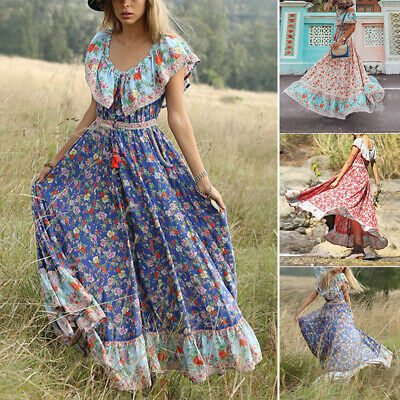 Womens Boho Floral Maxi Long Dress Party Evening Summer Holiday Beach Sundress