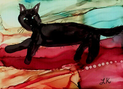 ACEO black cat Pixie on back of couch original painting by Lynne Kohler