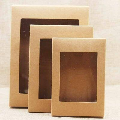 10pcs Kraft Paper Box For Weddings Party Muffin Packaging With Window Gift Boxes