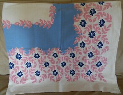 """Vintage STARTEX Tablecloth~CUTTER with STAINS~PINK & BLUE FLORAL~54""""x 62""""~RETRO"""