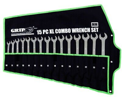 15 Pc Extra Long Metric Combination Wrench ( Set Metric ) 10 - 24 GRIP 89342