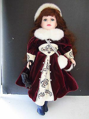 "Doll Porcelain Brown Curly Hair Blu Eyes 16""  Burgundy Dress Hat Skates (DOB-4)"