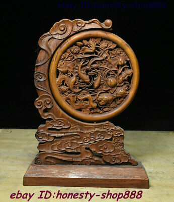 Collect Old Chinese Boxwood Wood Carving Lotus Flower Fish Folding Screen Statue