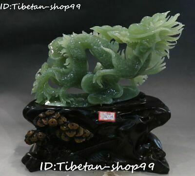 "11"" Natural Xiuyan Green Jade Dragon Loong Ruyi Yuanbao Coin Money Animal Statue"