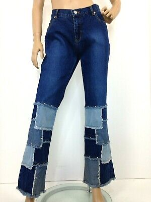 Y2K early 2000s boot cut jeans by Ice low rise 3 toned raw edge patch work Sz 14
