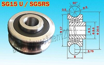 5 x SG15 Model Silver Sealed U-Groove Ball Bearings SG15 Model 5 x 17 x 8mm