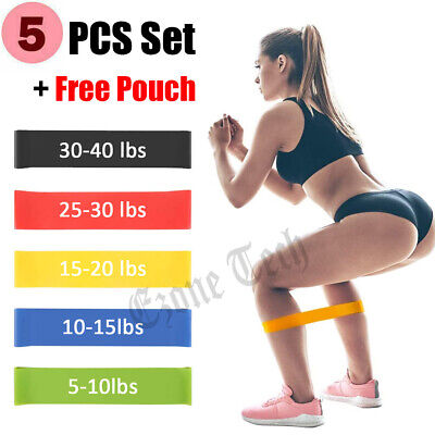 Set of 5 Resistance Bands Loop Yoga Pull Up Exercise Fitness Strength Training
